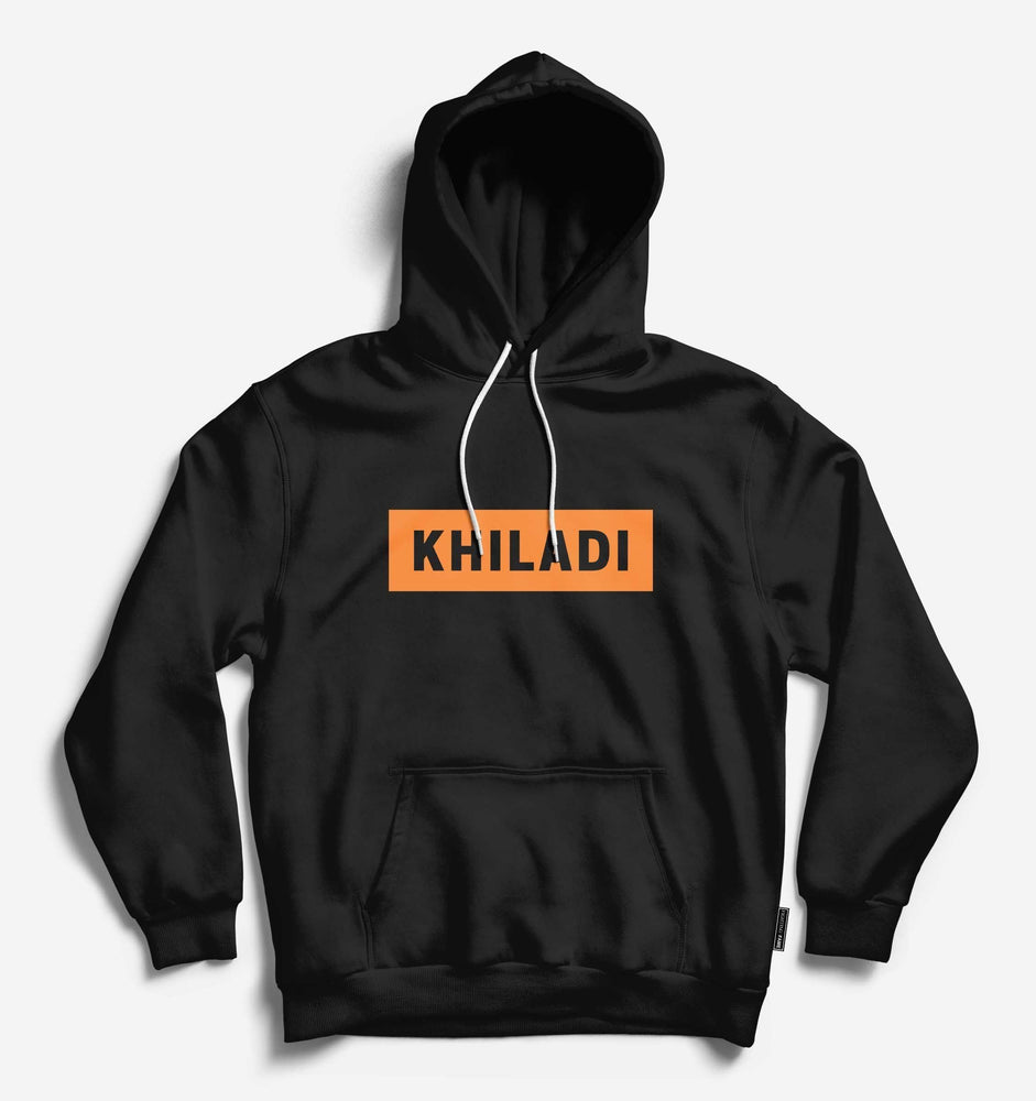 Khiladi Unisex Black Long Sleeve Tee With Hood