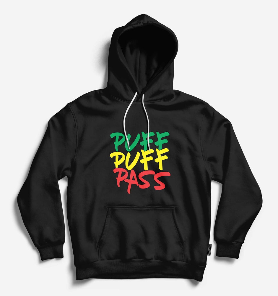 Puff Puff Pass Unisex Black Long Sleeve Tee With Hood