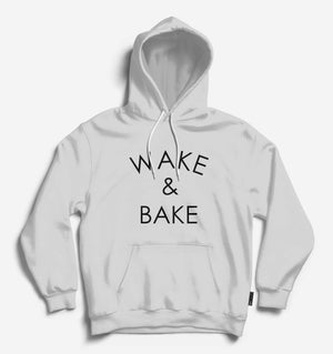 Wake and Bake Unisex Lt.Grey Long Sleeve Tee With Hood