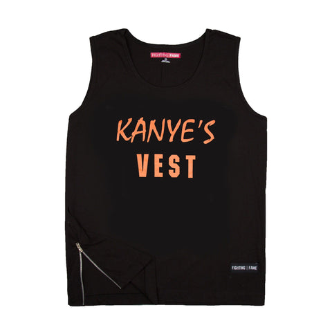 Kanye's VEST Black Vest With Side Zipper
