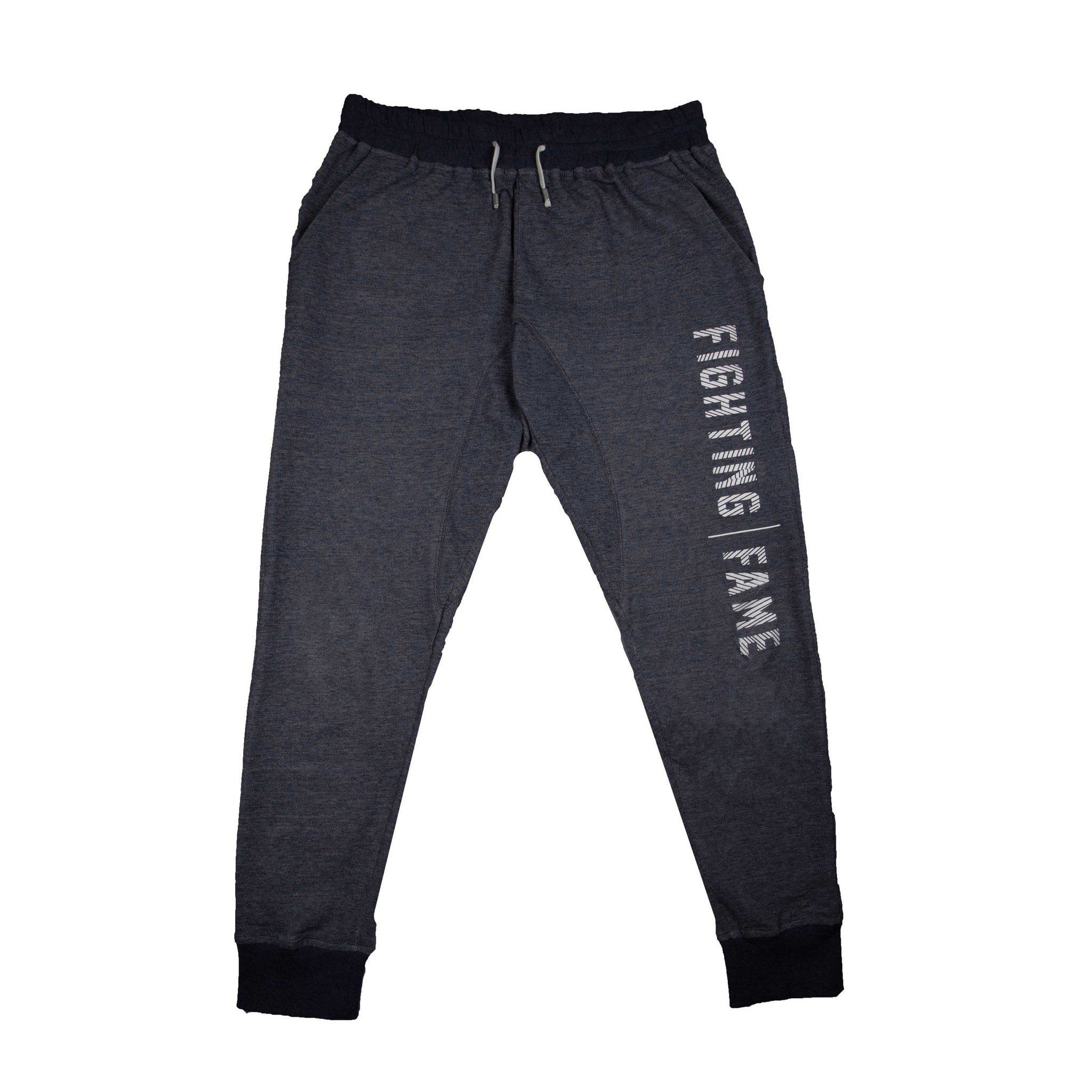 Fighting Fame Print Blue Melange Joggers - Fighting Fame  - 1