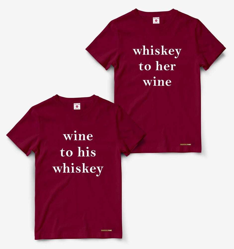 His Whiskey And Her Wine Couple Maroon Tees
