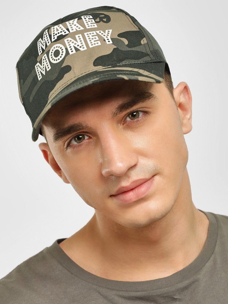 MAKE MONEY Slogan Camo Print Cap