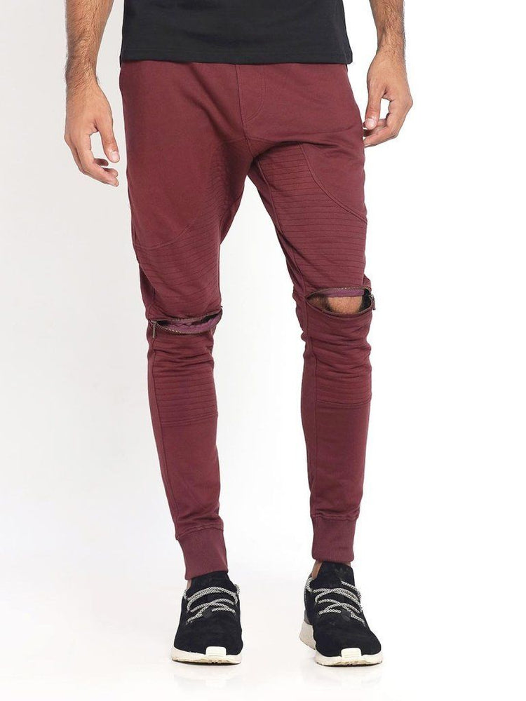 Maroon Biker Joggers with Zippers