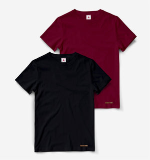 Maroon And Black Pack of 2 Half Sleeve Tees