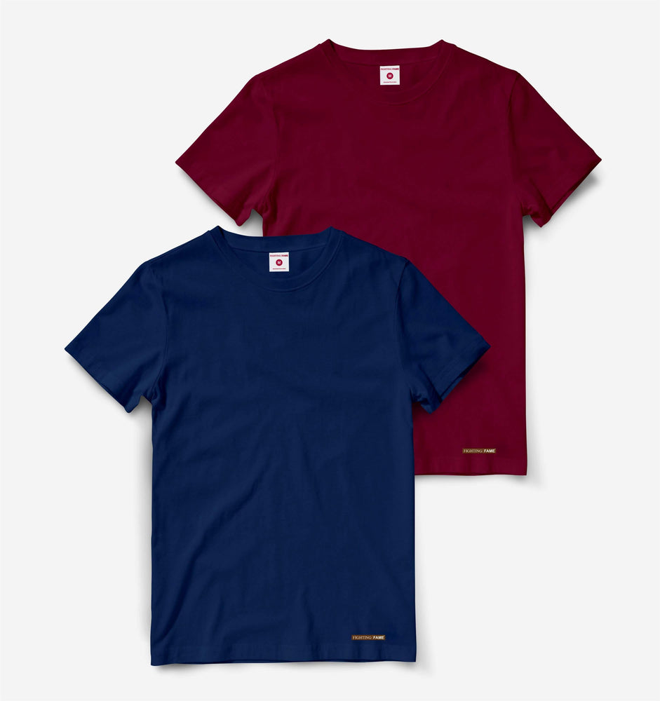 Maroon And Navy Blue Pack of 2 Half Sleeve Tees