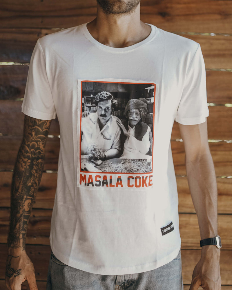 Masala Coke White Tee - Fighting Fame Signature Graphic Tees with an Indian twist. Kafi Hatke!