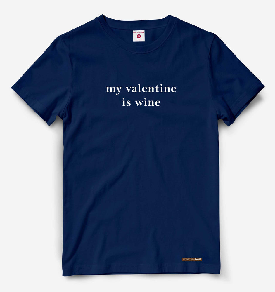My Valentine is Wine  Navy Tee