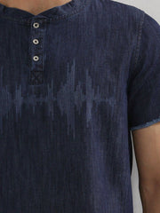 Sound-Waves Denim Henley T-Shirt