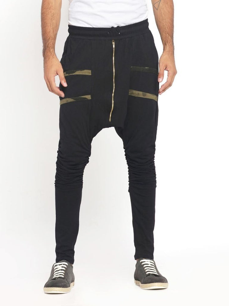 Street X Drop Crotch Joggers With Black Camo Straps