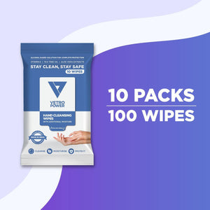 Vetro Power Hand Cleansing Wipes with Aloe Vera, Vitamin E & Tea Tree Oil - 100 Wipes (Pack of 10, 10 each)