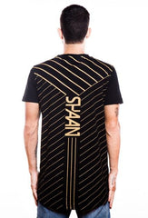 (S)haan X Fighting Fame Linear Gold Black Longline T-Shirt - Fighting Fame  - 2