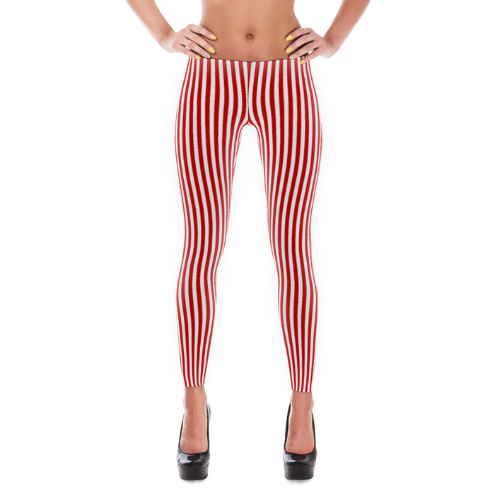 Red White Stripes - Leggings -  at Mongolife