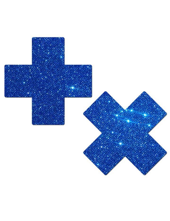 Crystal Blue Glitter Cross Nipple Pasties