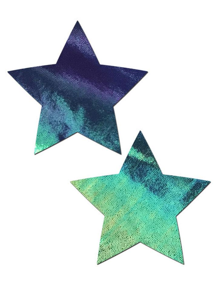 Liquid Black Opal Iridescent Star Nipple Pasties