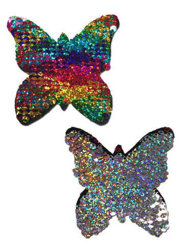 Rainbow & Silver colour changing Sequence Nipple Pasties