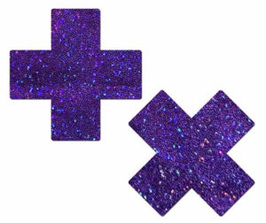 Purple Glitter Cross Nipple Pasties