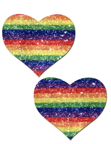 Glittering Double Rainbow Heart Nipple Pasties