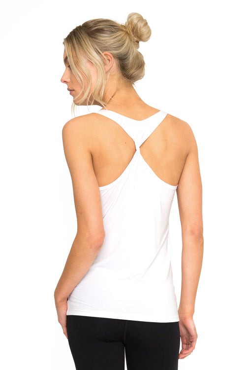Dharma Bums Bamboo Twisted Back Tee - White