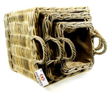 Square Lined Basket Set of 3 with Removable Hessian Liner