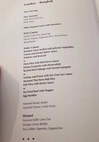 Thai Airlines First Class in-flight Menu