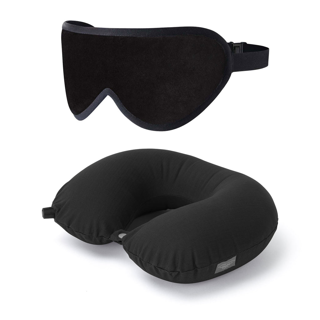 Luxury Travel Gift Set Pillow Sleep Mask Set Masters of Mayfair Black