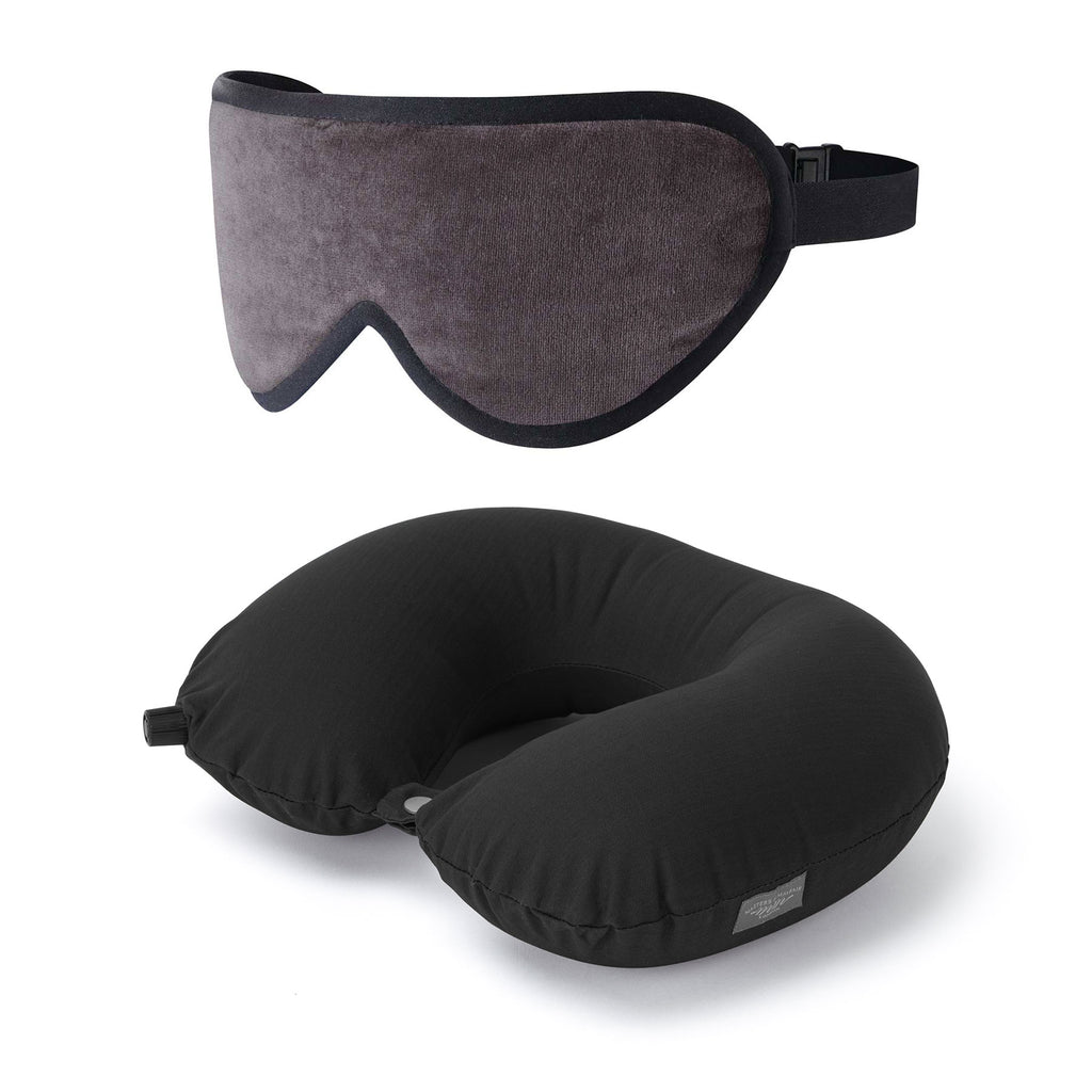 Luxury Sleep Mask & Travel Pillow Set in Grey/Black