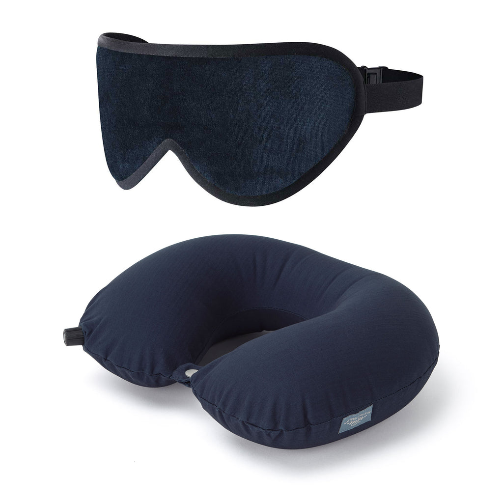 Luxury Sleep Mask Travel Pillow Accessory Set UK Unisex Navy