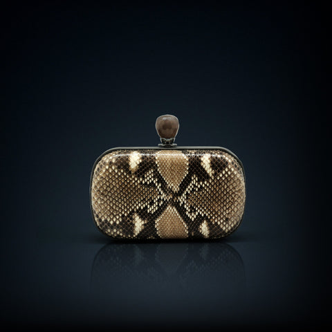 Dahlia python box clutch blue color with smoky quartz clasp closure