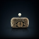 Dahlia python box clutch natural color pearl clasp closure