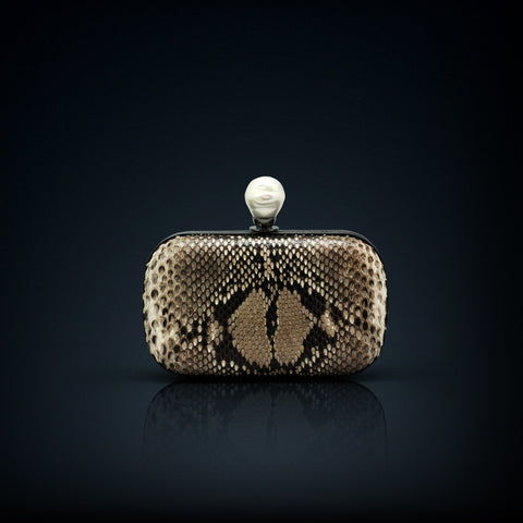 Dahlia python box clutch natural color with smoky quartz clasp closure