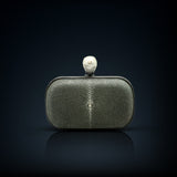 Dahlia stingray box clutch gray color with pearl clasp closure