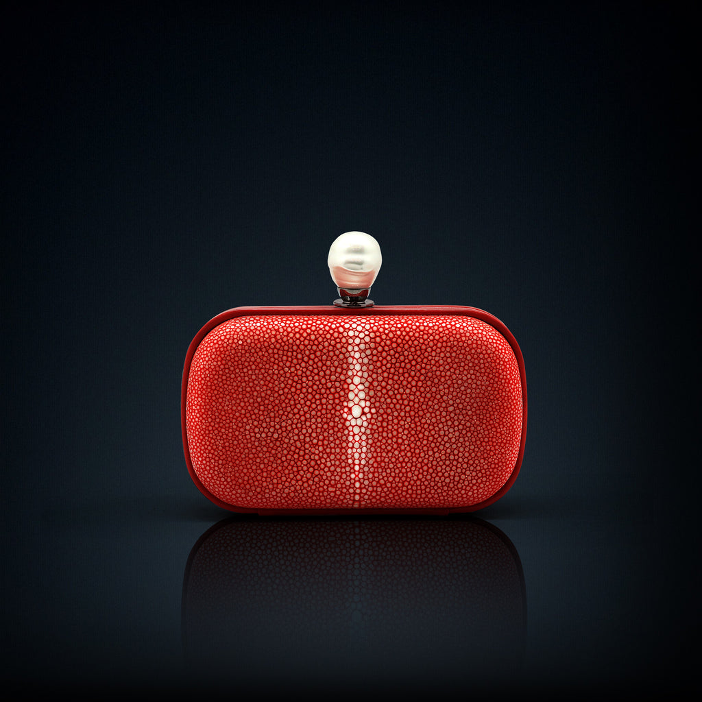 Dahlia stingray box clutch red color with pearl clasp closure
