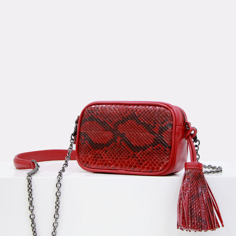Dahlia python box clutch red color with smoky quartz clasp closure