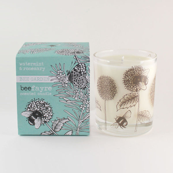 "Beefayre ""Bee Garden"" Watermint & Rosemary Large Scented Candle"