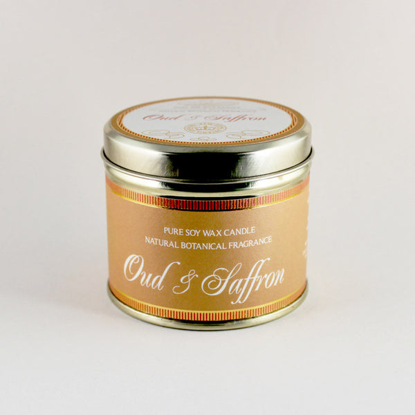 Kew Vintage Oud & Saffron Scented Soy Candle Tin