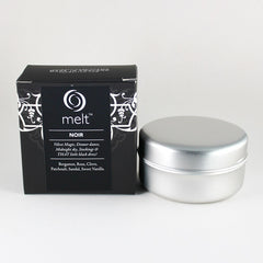 Melt Noir Scented Candle Tin & Packaging