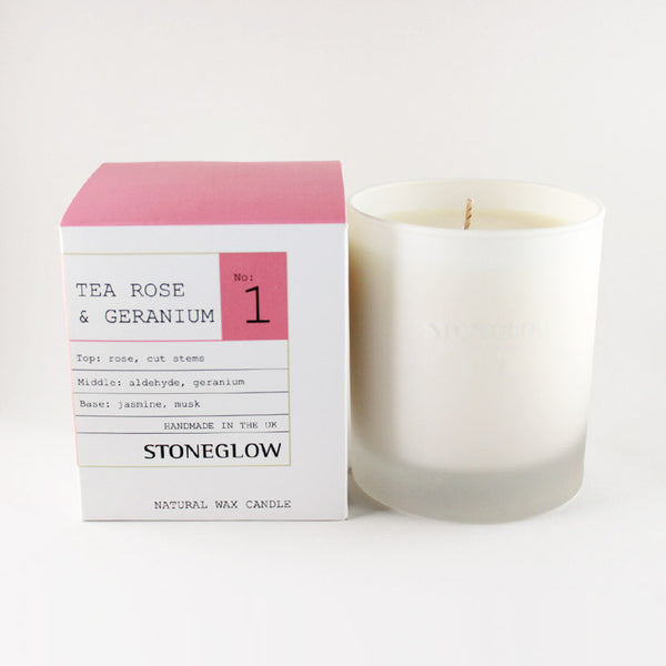 Stoneglow No.1 Tea Rose & Geranium Scented Container Candle