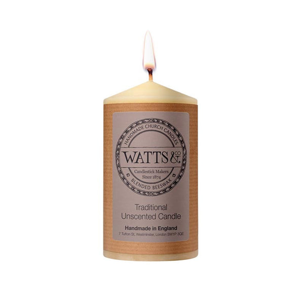 "Watts & Co 3"" x 5"" Beeswax Church Candle"