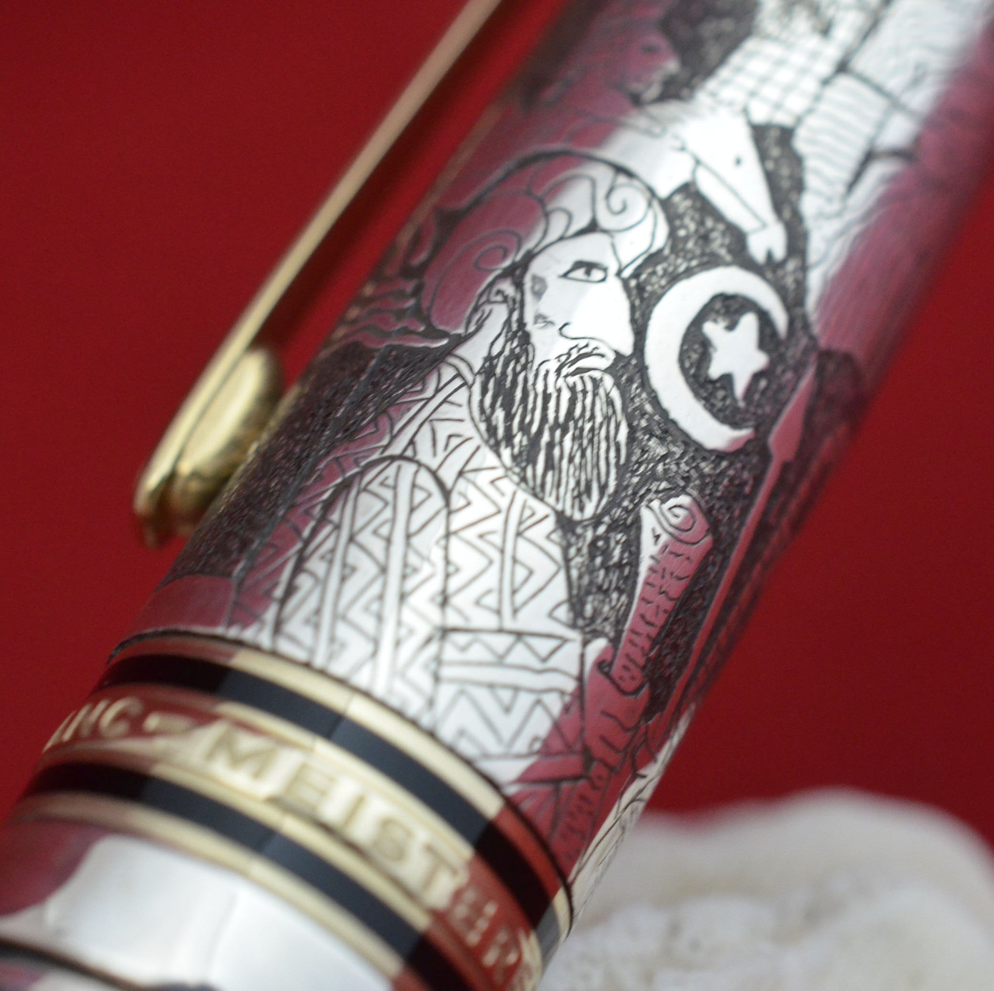 "Customized Overlay ""Millenium"" over vintage Mont Blanc 149 Fountain Pen"