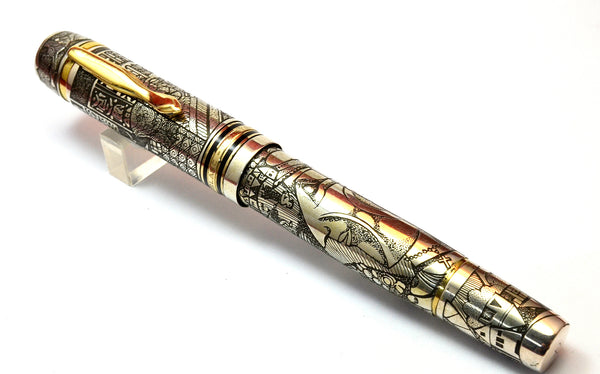 "Ariel Kullock Customized Silver ""Chagall"" 139 Style Overlay on Mont Blanc 149 Fountain Pen"