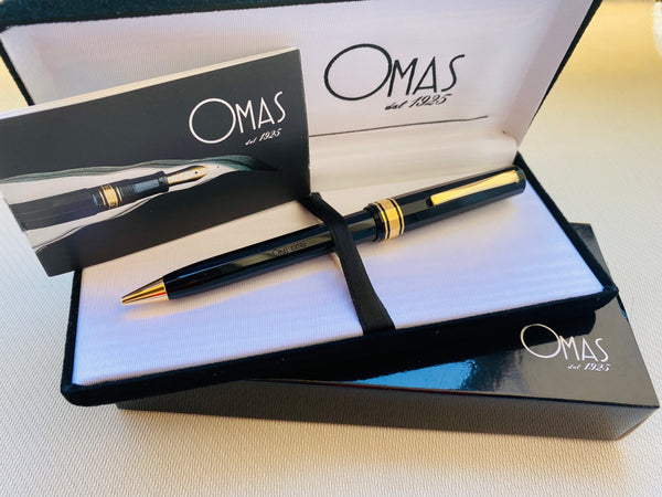 Omas EXTRA Black Ball Point w/Case, NOS, 90´s, Italy