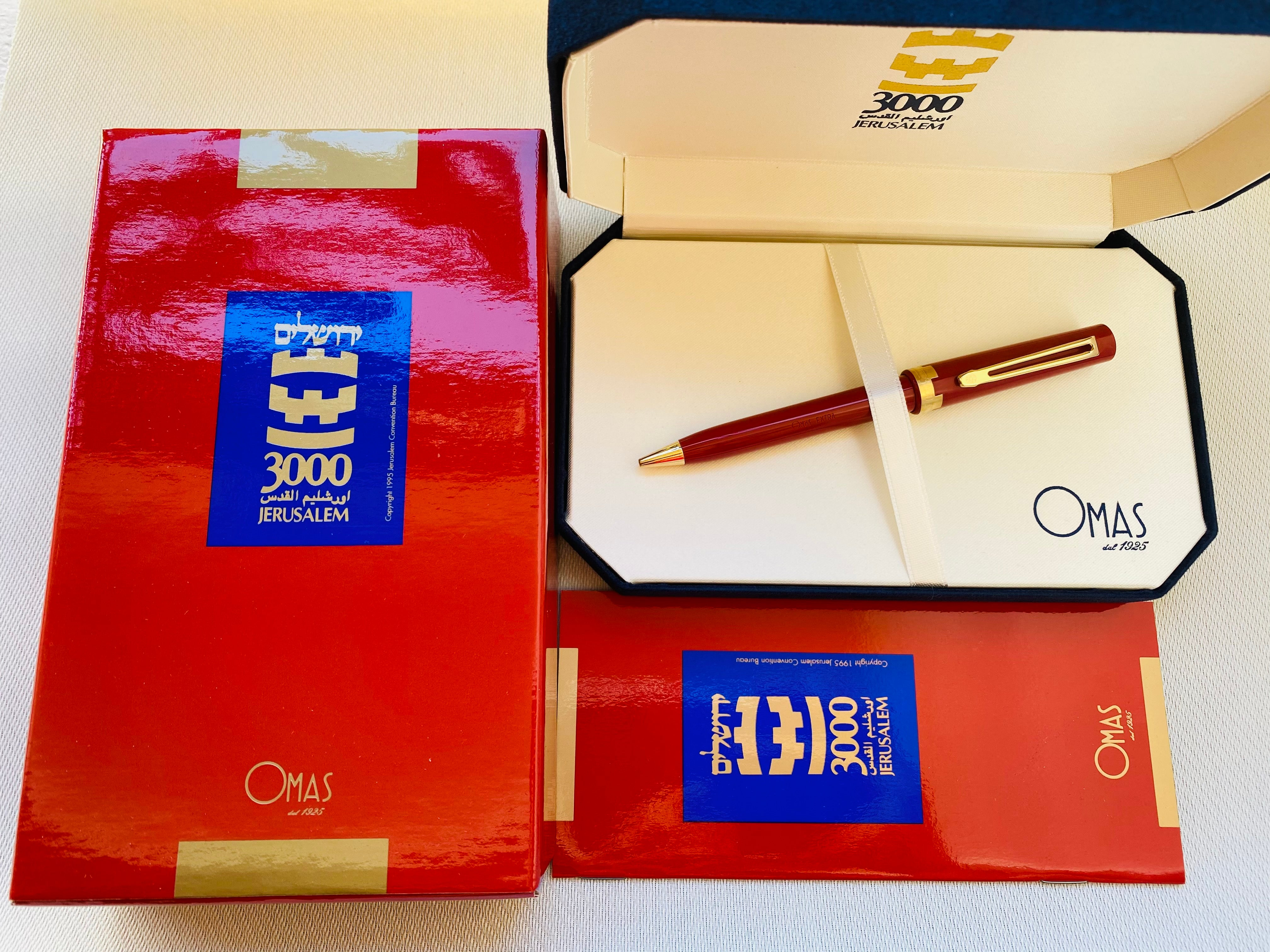 Omas JERUSALEM 3000 RED Ball Point w/Case, NOS, 90´s, Italy