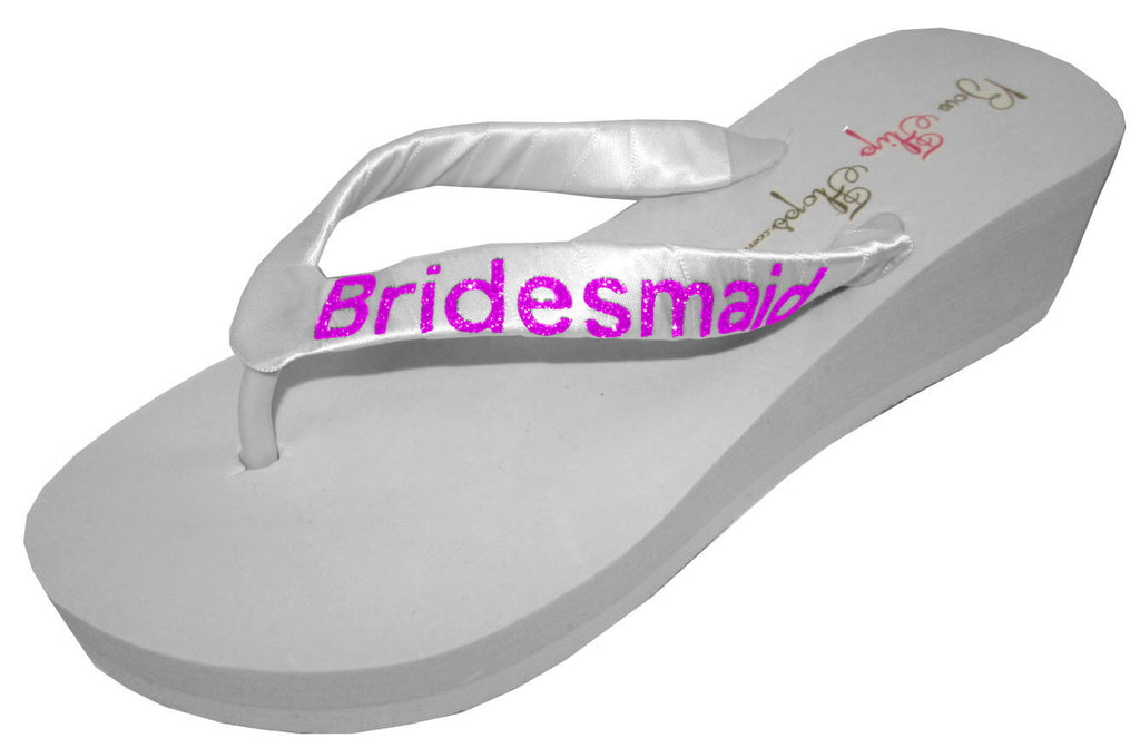 White & Hot Pink Bling Bridesmaid Flip Flops- choose color Wedges- Choose Heel Height- Glitter