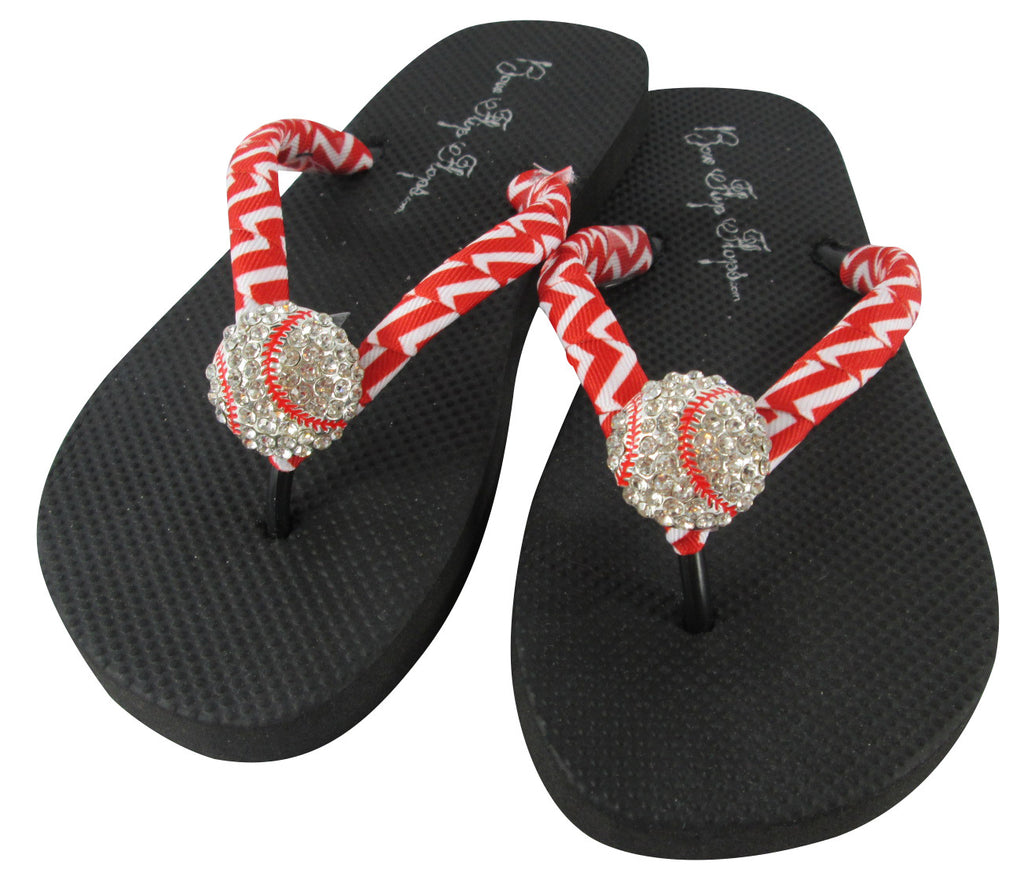 Baseball flip flops with red and white chevron and black