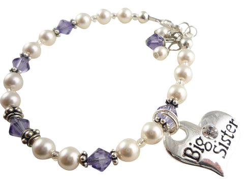 Big Sister Pearl Bracelet with Purple Crystals