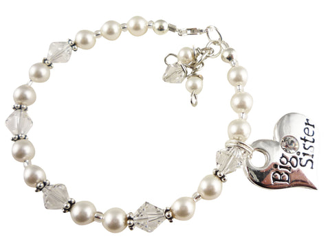 Bracelet for the Big Sister in Crystals and Pearls and Sterling Silver