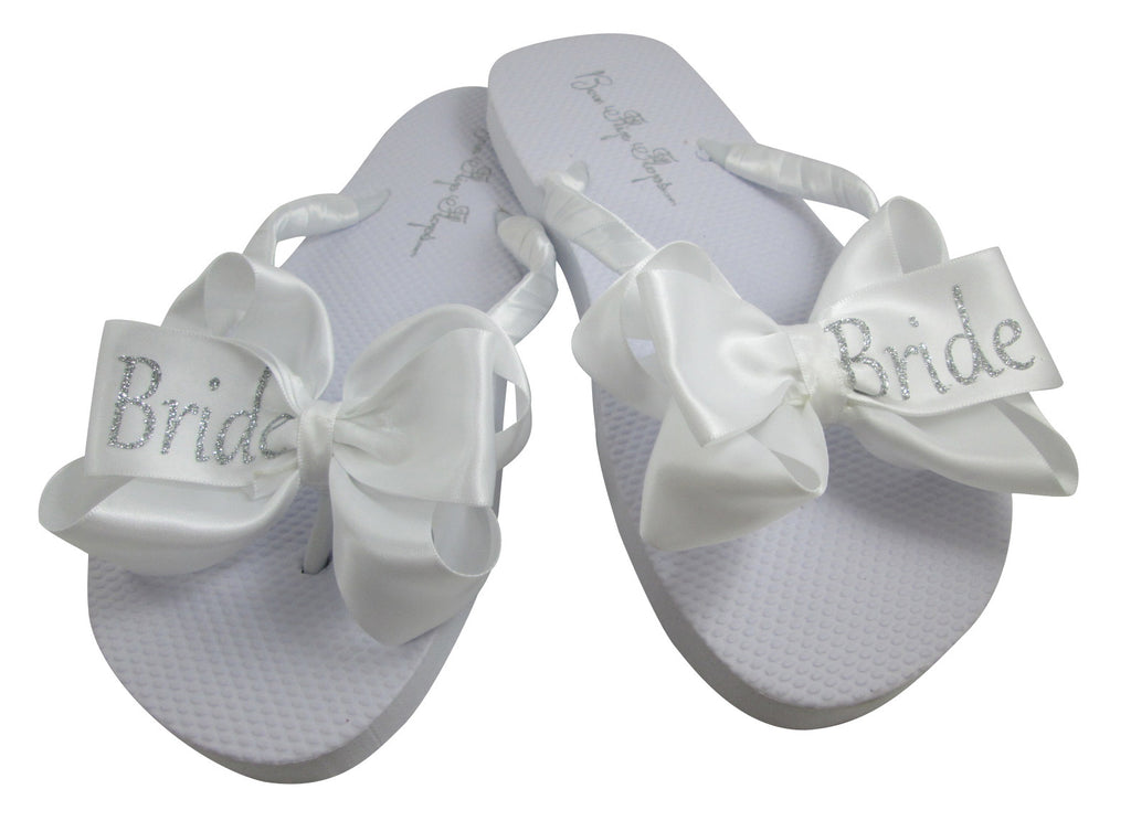 Bride Wedding Bow Flip Flops with Silver Glitter
