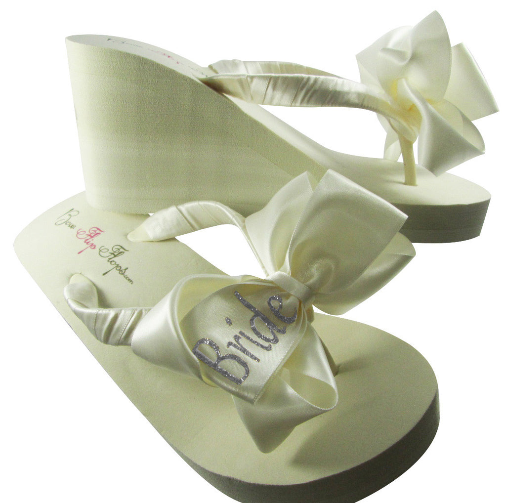 Bride Flip Flops with Glitter Bows- Silver -White or Ivory