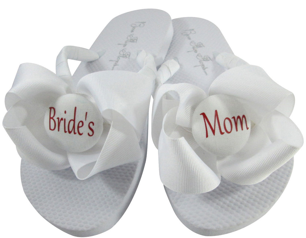 Wedding Flip Flops for the Bride's Mom in White Bows with Red-or choose colors